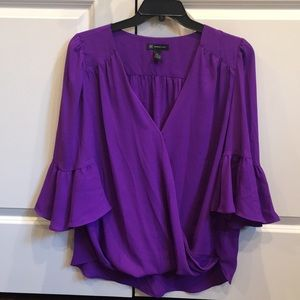INC Purple Polyester Blouse with Bell Sleeve XL